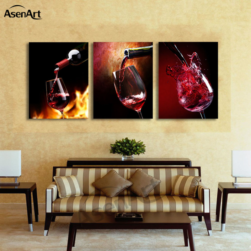 wine wall art decorating dining room | 3 Piece Art Sets Glass Red Wine Painting Picture Print on ...