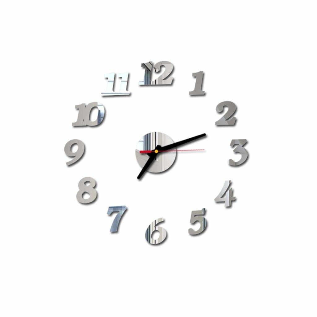 حار الحديثة تصميم ساعات الحائط الجدار ملصق ثلاثية الأبعاد لتقوم بها بنفسك الأرقام الرومانية الاكريليك مرآة ساعة ملصقات جدار ديكور المنزل 2019 جديد