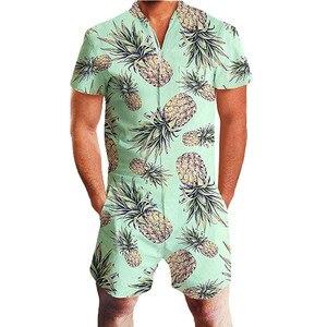 Image 2 - 2020 Hawaiian Tiger & Flamingo Print 3D Rompertjes Mannen Jumpsuit Speelpakje Harem Cargo Overalls Zomer Casual Rits Strand Mannen sets
