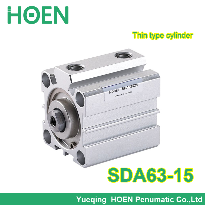 SDA63-15 63mm Bore 15mm Stroke Pneumatic Compact Cylinder SDA63*15 Aluminum Alloy Thin Air Cylinder free shipping 63mm bore 50mm stroke pneumatic compact cylinder sda 63 50 aluminum alloy