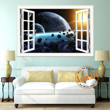 3D Galaxy Wall Sticker Outer Space Planet Stickers Removable Wallpaper 3d Window Scenery Wall Decals for Living Room Home Decor
