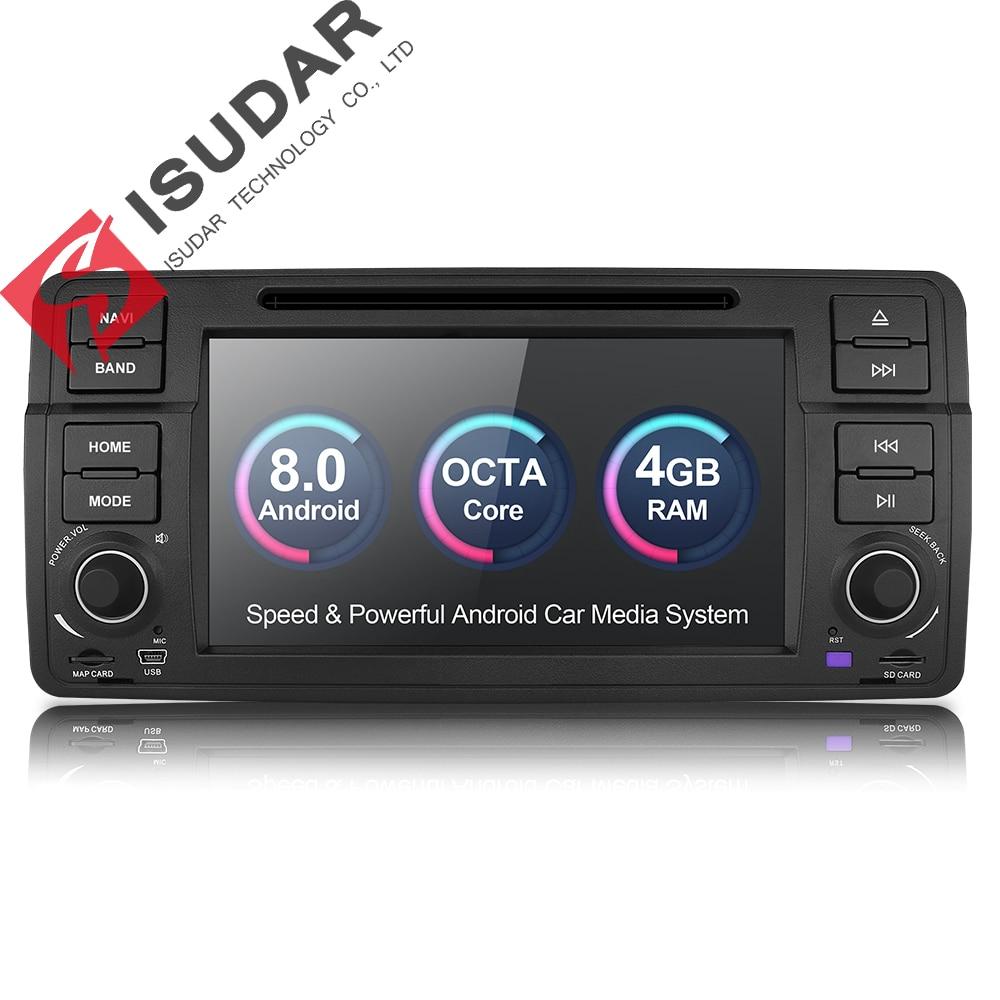 Isudar Voiture lecteur multimédia Android 8.0 GPS Autoradio 1 Din chaîne hi-fi Pour BMW/E46/M3/Rover/3 série RAM 4G WIFI FM Radio