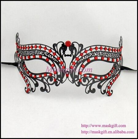 Free Shipping 2016 New Full Stones Mask Fashion Black Metal Mask Sexy Prom  Party Masquerade Dance cc8e0aa9cbab