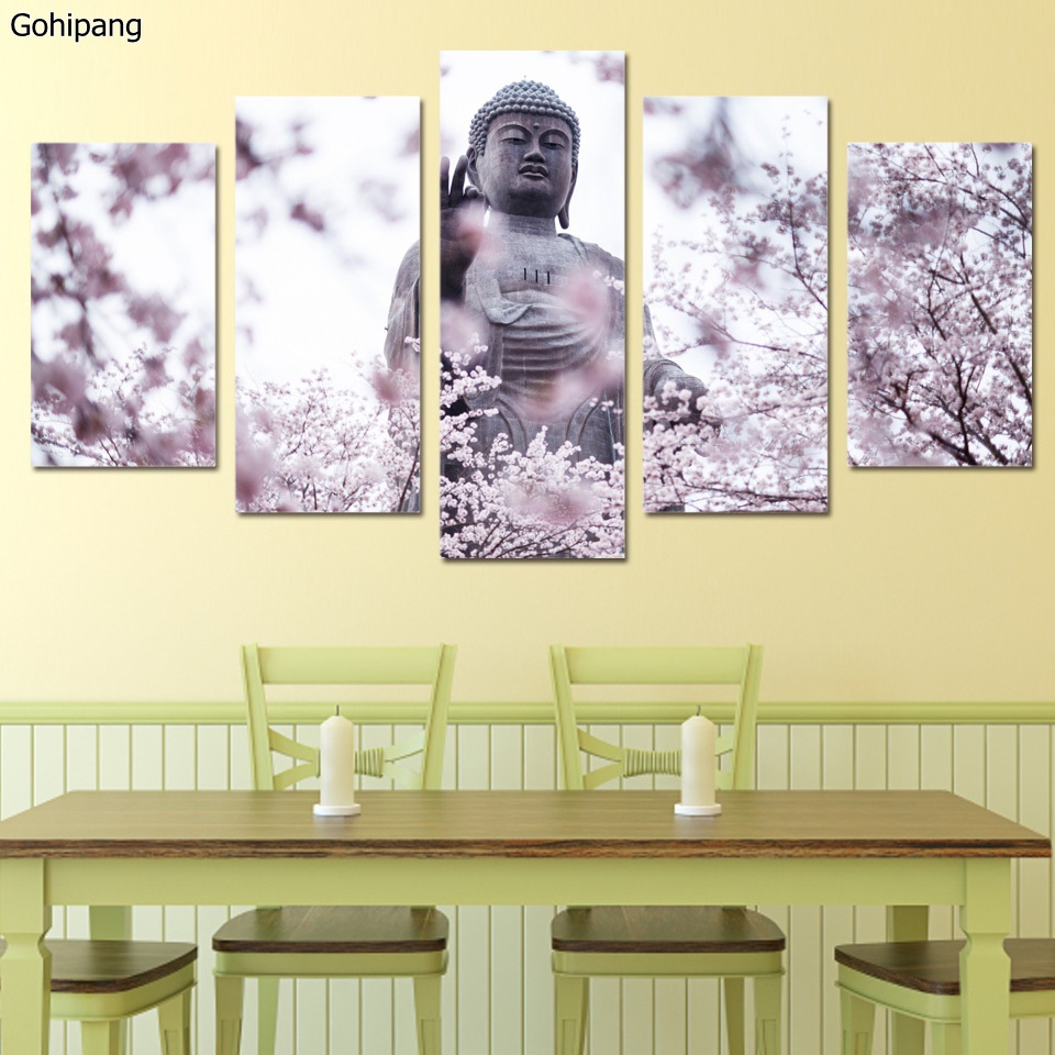 buddha wall art canvas painting 5 piece HD print buddha statue ...