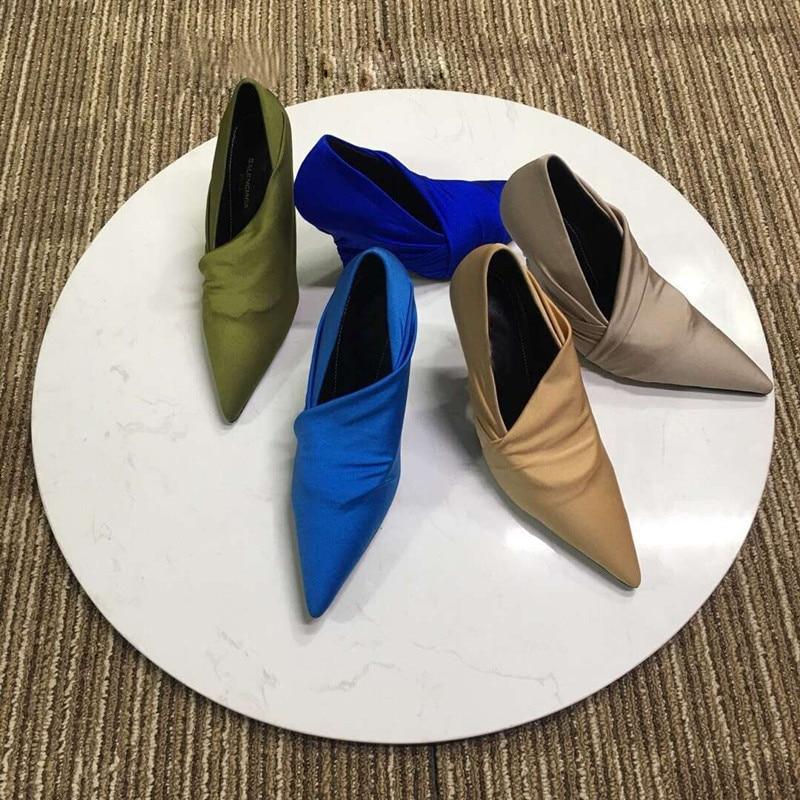 Подиумные стильные шелковые туфли на тонком высоком каблуке разноцветные свадебные туфли с острым носком без шнуровки женские туфли на шпильках, весна 2018 - 3