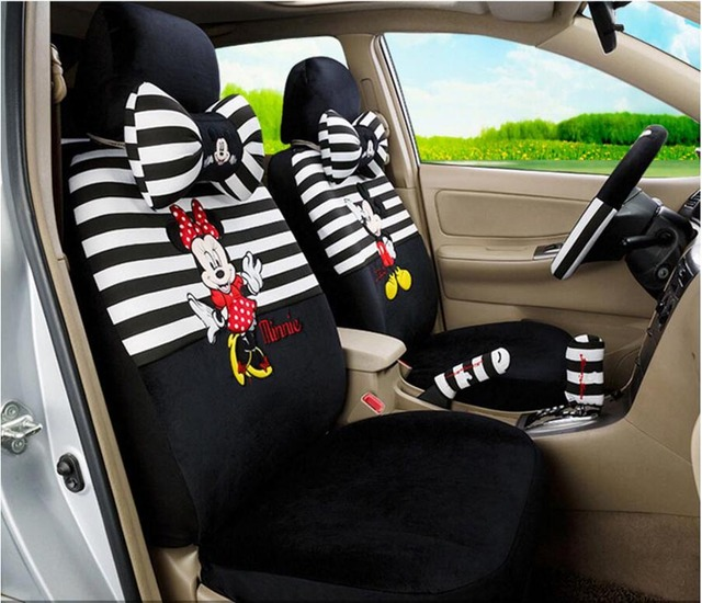 15PCS Luxury Winter Short Plush Cute Cartoon Universal Car Seat Cover Mickey Monkey Cow
