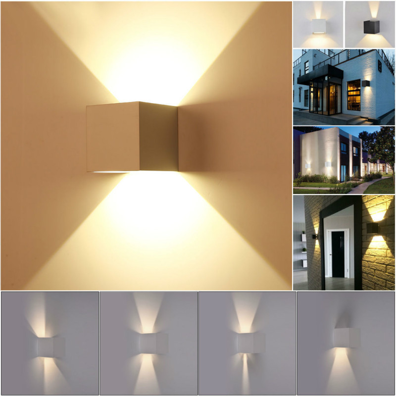 New 7w modern led wall light up down cube indoor outdoor for Exterior up and down lights led