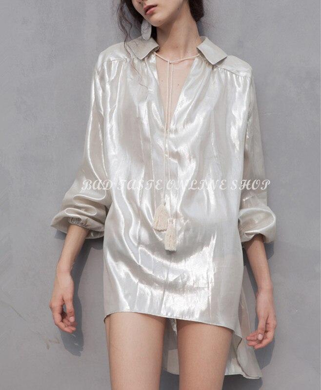 Popular silver metallic blouse buy cheap silver metallic for Silver metallic shirt women s
