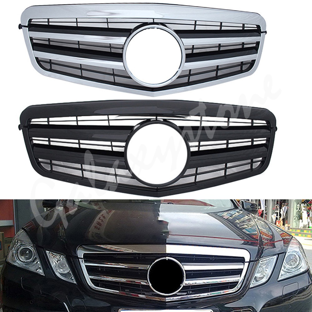 For 14-16 Mercedes Benz W212 Diamond Design silver Grille E Class E350 E550 E63