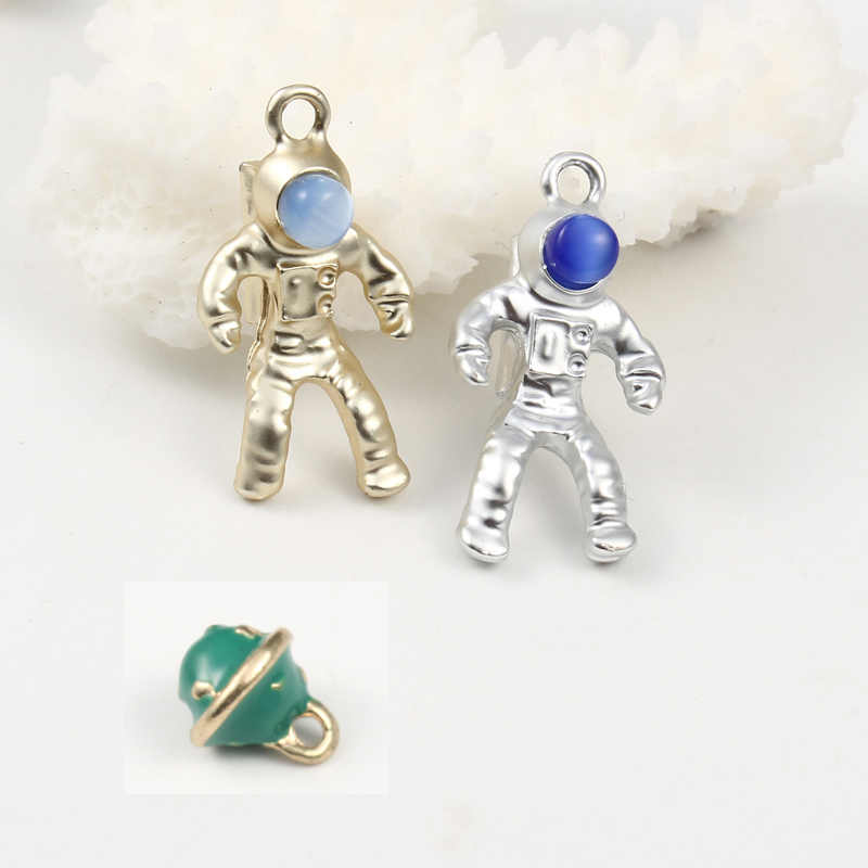 5pc Enamel Cute Spaceman Planet Charms Pendant Diy Personalized Necklace Bracelet Bead Ball Handmade Accessories Jewelry Finding