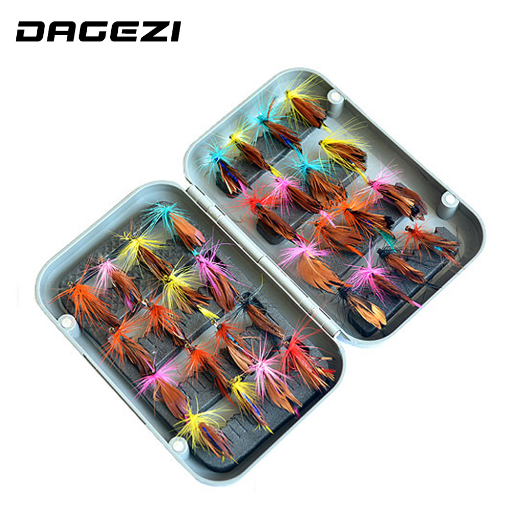 DAGEZI 32pcs/sets fly fishing lure set Artificial bait trout fly fishing lures fishing hooks fishing tackle box машинка для стрижки delta dl 4012 silver