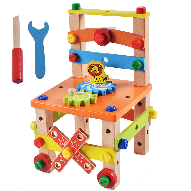 Wooden Toy Multifunctional Chair Assembly Handwork Disassembly  Tool Engineering Educational Toys For Children Kids