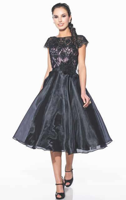Elegant Cocktail Dresses Black Chiffon And Lace Beaded Flowers Vestidos De Festa Hollow Open Back Tea-Length Party Gowns E2074
