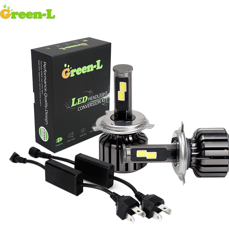 Зеленый-l 1 компл. H3 H4 H7 9004 COB светодиодные фары Conversion Kit 12 В H4 Hi/Low луч лампы Туман Дневной Бег Light 6000 К налобный фонарь