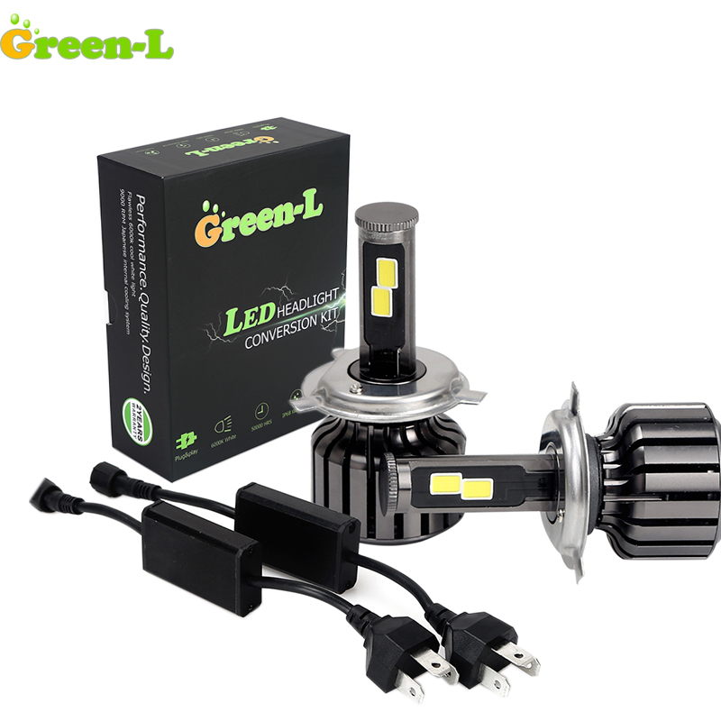 Green-L 1 SET H3 H4 H7 9004 COB LED Headlight <font><b>Conversion</b></font> Kit 12V H4 Hi/low Beam Bulb Fog Daytime Running <font><b>Light</b></font> 6000K Headlamp