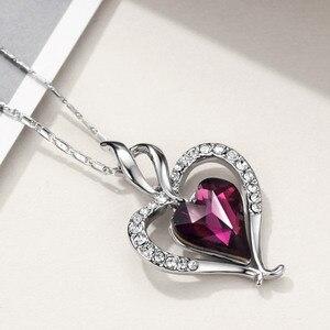 Image 4 - Neoglory áustria cristal & strass longo charme pingente colar de declaração duplo amor corações presente na moda para as mulheres diariamente