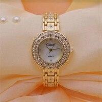 CUSSI New Gold Women Watches Brand Luxury Ladies Dress Quartz Wristwatches Womens Bracelet Watches Clock Reloj