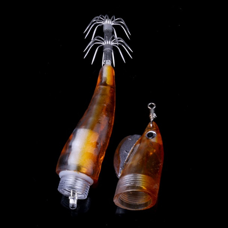 1PCS LED Electronic Luminous Shrimp Lure 12 8cm 18 4g Night Fishing Squid Jigs Cuttlefish Lure Bass Fish Bait Wobbler Tackle in Fishing Lures from Sports Entertainment