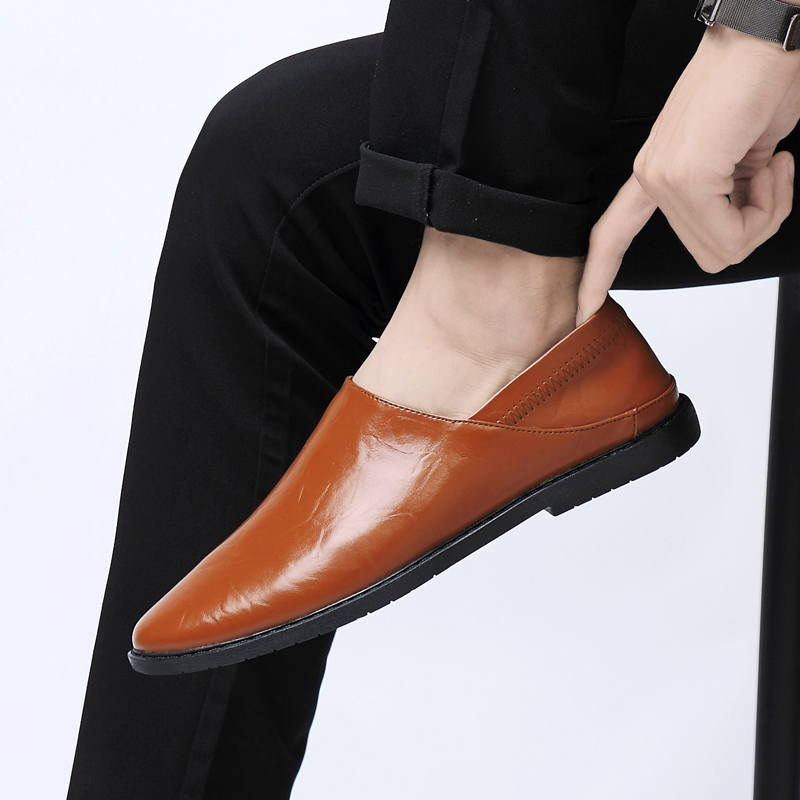 2019 new men 39 s shoes casual leather loafers male white brown blue or black slip on shoe man light driving shoes for men hot sale in Men 39 s Casual Shoes from Shoes