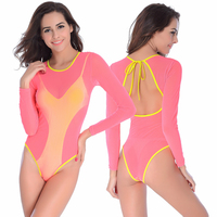 2018 Sexy Long Sleeve Women Bikini Swimsuit Double Fabric Swimwear Leisure Swim Suit One Pieces