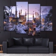 Fantasy Winter Castle 4 Piece Style Modular Picture Canvas Printing Type Modern Home Decorative Wall Artwork Poster Framework