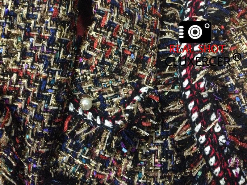 De Manteau Perle Longues Bouton Veste Élégant Femmes automne Tweed Printemps Manches Piste Multi Cachemire 2018 Laine À Gland Mince AYxwF