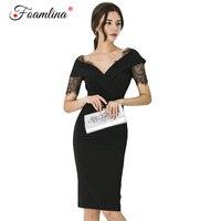 Foamlina Office Work Dress for Women Elegant Black Bodycon Dress Sexy V neck Short Sleeve Lace Patch Slim Party Summer Dress