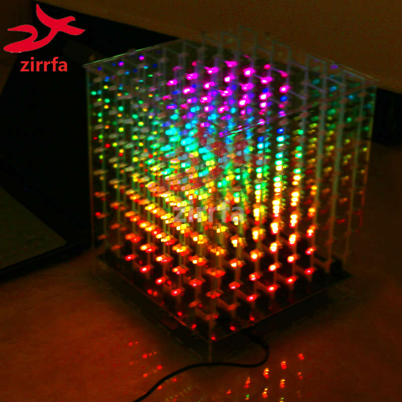 Zirrfa 2018 Новый 3D 8 8x8x8 RGB/красочные cubeeds, отличный анимационный светодиодный дисплей, рождественский подарок для sd-карты с коробкой