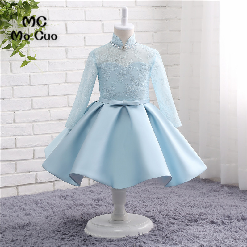 Flower     Girl     Dresses   Ball Gown Blue Lace Full Sleeves High Neck Crystals Wedding Pageant First Communion   Dresses   for Little   Girls