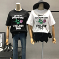 Women Rose Letters Print Cotton T-shirts Harajuku Unif Loose Casual Daily Tee Tops Female Short Sleeve O Neck Shirts Black/White