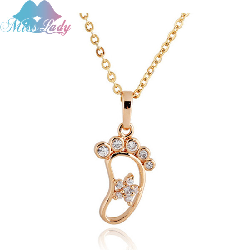 Miss Lady Rose Gold color Zircon Cute Little Baby Foot feet footprint Necklaces & Pendants statement Jewelry for women