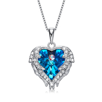 Fine Jewelry 925 Sterling Chain Silver Necklace Korean High Quality Invisible Angel Pendant Heart Crystal Necklace for Women