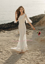 flutter sleeves embroidered lace beach wedding dress Square Neck bridal gown geo lace yoke flutter sleeve top