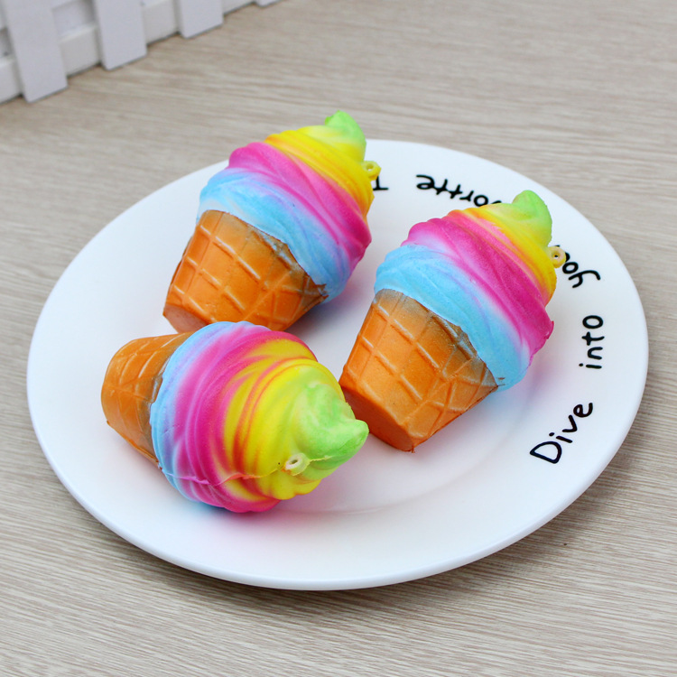 3 Pieces 10CM Rainbow Ice Cream Egg Tart Squishy Toy Anti-Stress Slow Rising Colorful Gags Joke Party Props Wholesale Toys