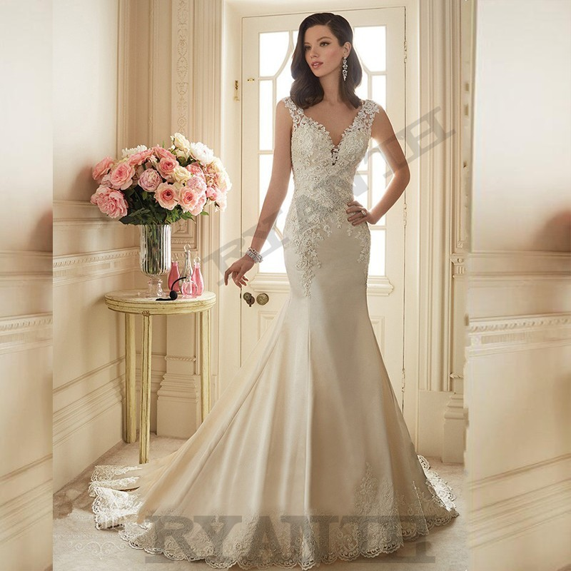 Vestido de noiva Sexy V Neck Lace Satin Mermaid Wedding Dresses 2018 Cheap Vestidos de novia