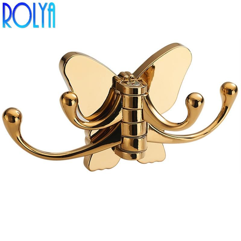 ROLYA papillon salle de bains serviette vêtements manteau cintre Robe crochet avec 4 crochets support mural doré/Chrome