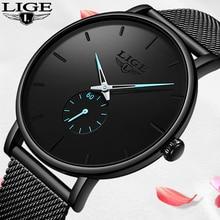 LIGE Women Watches Top Brand Luxury Ladies Quartz Clock Stainless Steel Waterproof Ultra Thin Mesh Casual Wristwatch Reloj Mujer
