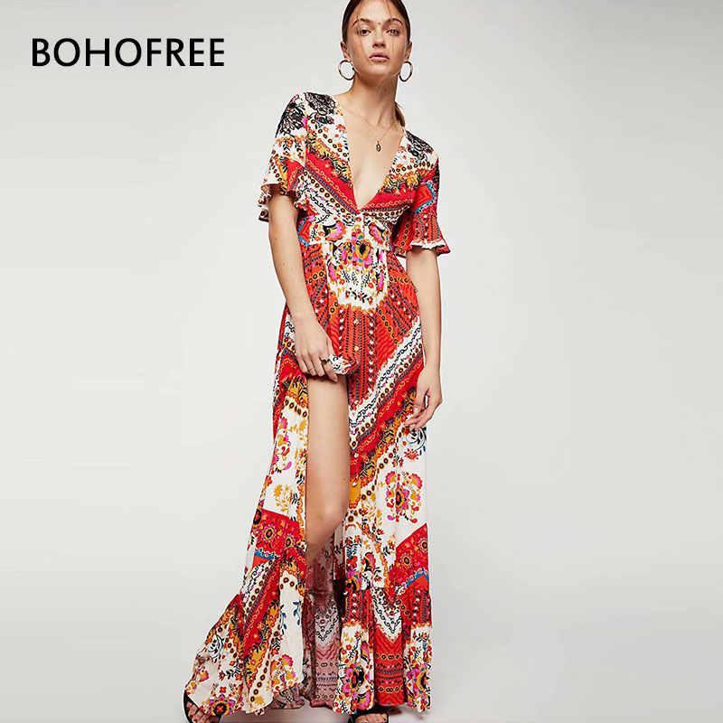 dddd2bae28287 BOHOFREE Sexy V Neck Bow Tie Gypsy Floral Printed Maxi Hippie Long Dress  Femme Backless Summer Party Vestidos Beach Dresses