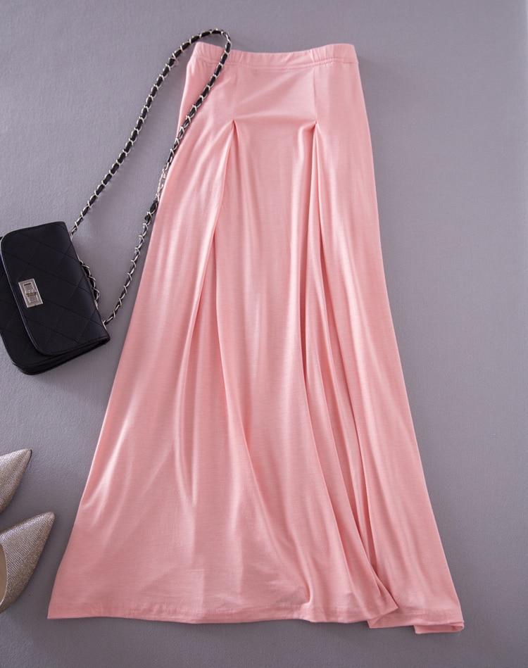 Solid Modal Long Skirt Plus Big Size Bust Long Skirt -4344