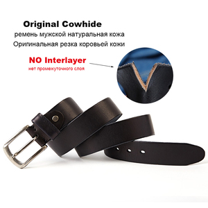 Image 3 - Men Belt Top Layer Leather Casual Belts Vintage Handmade Design Pin Buckle Genuine Leather Belts Male Waistband