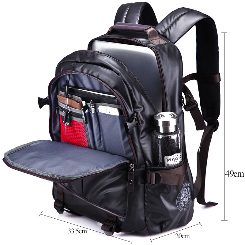 Image 5 - Waterproof Laptop Backpack High Grade Men's Multifunction Business Waterproof Travel Bag Synthetic Leather Computer Packsack-in Backpacks from Luggage & Bags