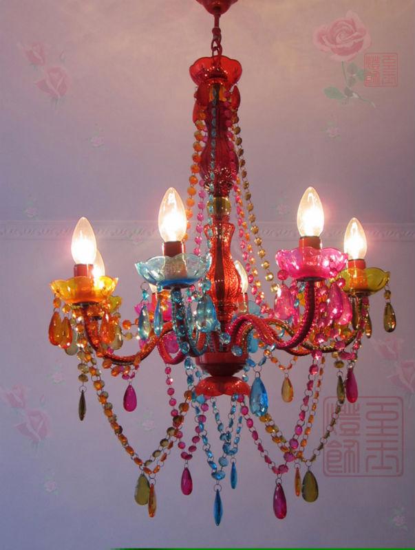 bohemian tiffany multi colored hand woven acrylic plastic beads crystal e14 8 heads candle bohemian lighting