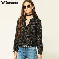 Witsources Women Star Print Chiffon Blouses Shirts 2017 New Long Sleeve Loose Sexy V Neck Casual