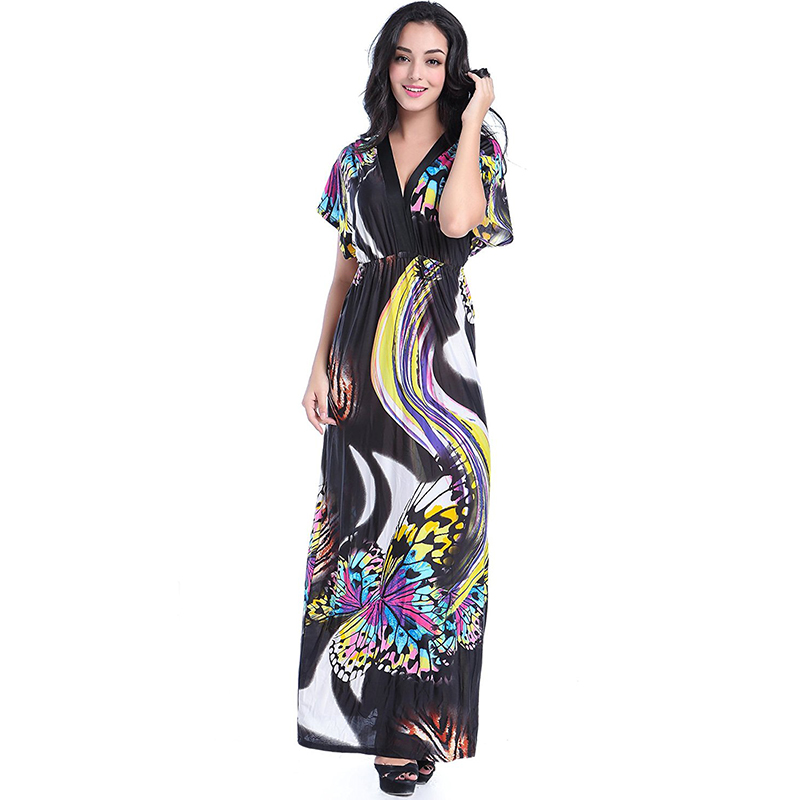 2017 Bohemian Women Summer Beach Dress Sexy Open Back V Neck Batwing Sleeve Long Maxi Dress for Holiday 7XL Plus Size Vestidos