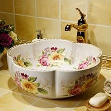 China Painting Rose Ceramic Painting Art Lavabo Bathroom Vessel Sinks Round  Countertop Decorative Sink Bowls Bathoom Sinks