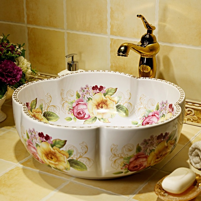 China Painting Rose Ceramic Art Lavabo Bathroom Vessel Sinks Round Countertop Decorative Sink Bowls Bathoom