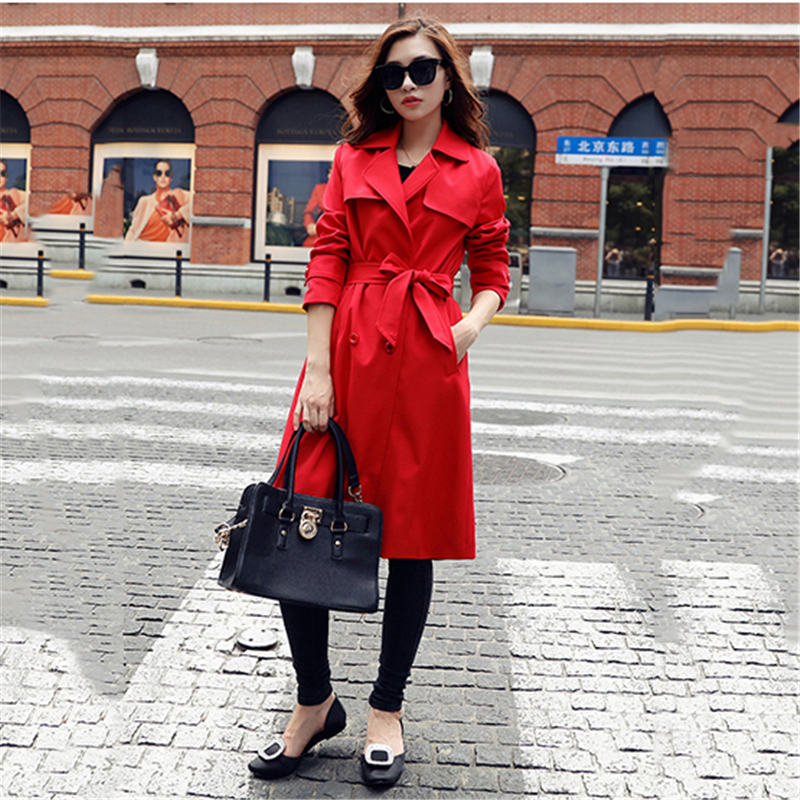 2019 Fashion New Spring Autumn Red Temperament Slim Women Long Trench Coat Turn Down Collar Double Breasted Slit Outerwear XH253