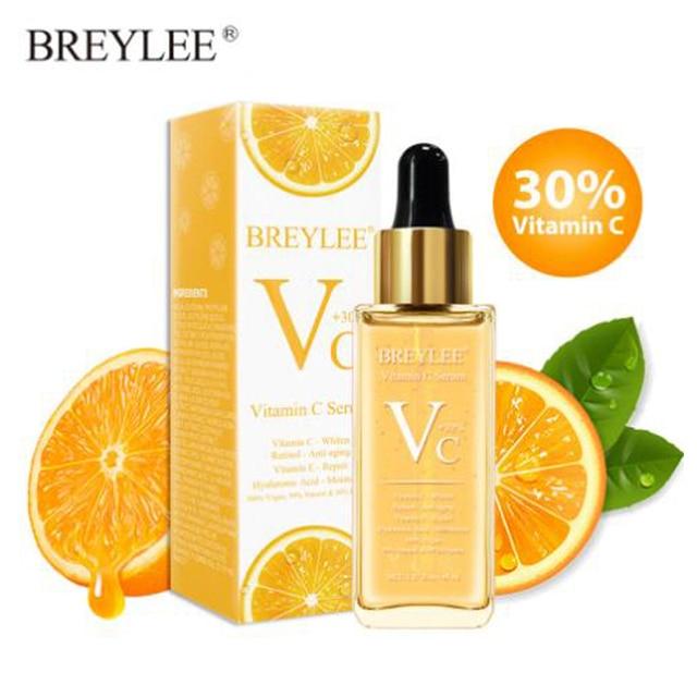 Suero de vitamina C de BREYLEE reparando el blanqueamiento de la piel Retinol Anti-envejecimiento ácido hialurónico hidratante facial áspero