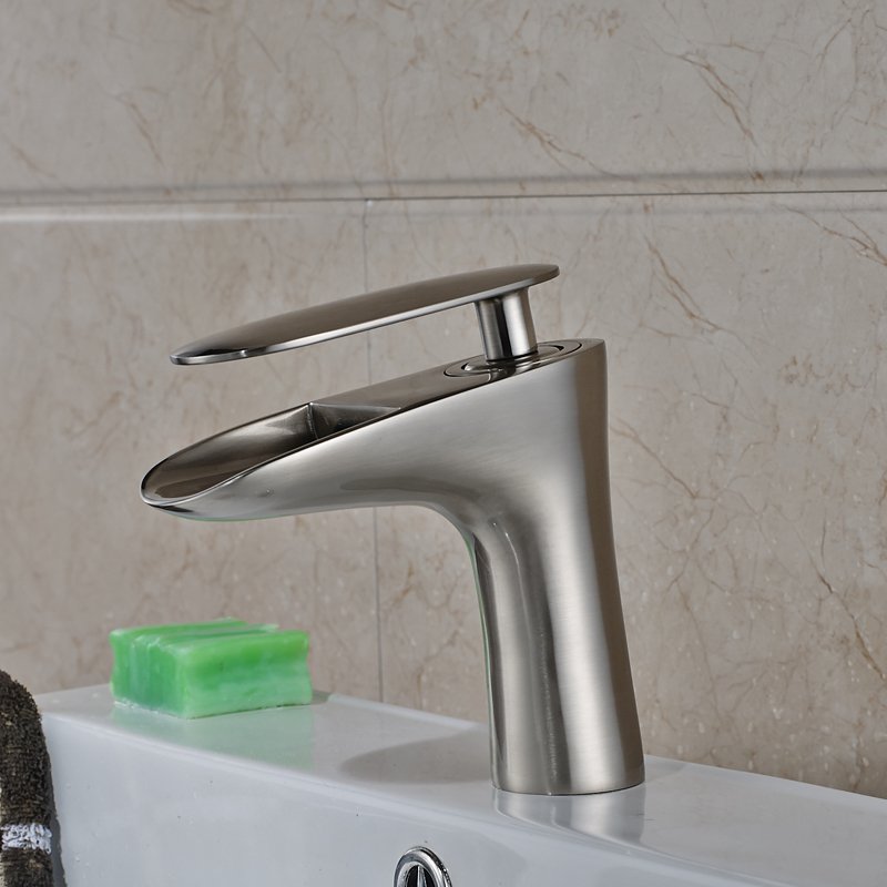 Nickel Brushed Finished Deck Mounted Bathroom Sink/Basin Faucet Single Handle Mixer Tap стоимость