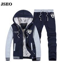 JSEO-Herren Dicke Pullover Winter Pullover Männer Schwarzen Anzug Sportswear Hoody Marke Kleidung Trainingsanzüge Kapuzenpullover Pant Suits Erwachsene Warme